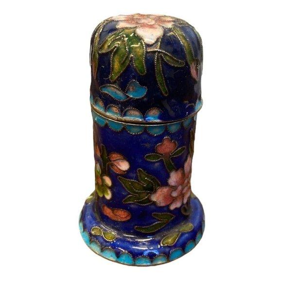 vintage chinese brass cloisonne jar